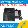 Battery Charger for MILWAUKEE AEG ATLAS COPCO 7.2V-18V 12V 14.4V Ni-MH Ni-Cd AU