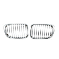 Pair Front Chrome Kidney Grill Grille for BMW E46 325Ci 330Ci 328 3Series 98-02
