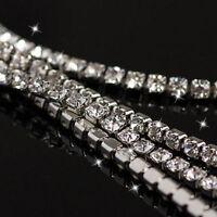 1 Metre Diamante Clear Crystals Rhinestone Silver Rope Trim Chain 3mm - 4.5mm