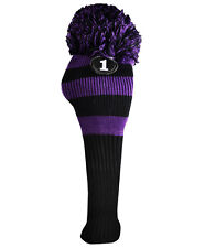 RAY COOK Golf New DRIVER KNIT POM POM BLACK AND PURPLE HEAD COVER