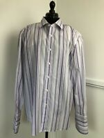 Jeff Banks Formal Shirt Tailored Fit Purple Grey Stripe Double Cuff Collar 18