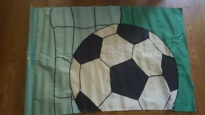 Soccer Ball, Outdoor 28x43 Applique House Flag stitched green/black Nylon, EUC