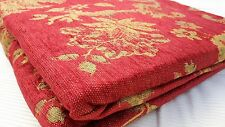 "JACOBEAN CHENILLE JACQUARD TAPESTRY  CURTAINS in WINE/RUBY/RED/ GOLD 66"" X 54 """