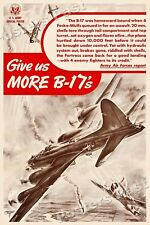 """Give us More B-17's"" 1943 Vintage Style WW2 War Army Poster - 16x24"