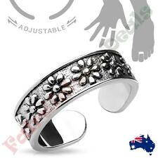 Silver Rhodium Plated Flowers Adjustable Toe Ring/Mid Ring