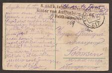 AUSTRIA / ITALY - ISONZO. FELDPOST. WW1. 1918. FPO 617. RITTER VON AUFFENBERG RE