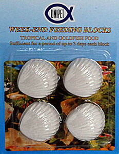 Tropical/Coldwater Fish Weekend Holiday  Feeding Block x 4, Free P & P