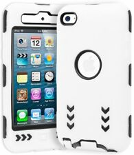 For iPod Touch 4, Heavy Duty Hybrid Shock Design White Cover and Black Hard Case