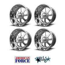 (4) 20x9 American Force Polished SS8 Burnout Wheels For Chevy GMC Ford Dodge