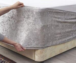 Elasticated Silver Grey Crushed Velvet Divan Bed Base Wrap Cover Valance Sheet