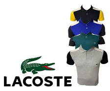 Lacoste Mens Slim Polo Shirt Cotton Short Sleeve Colorblock Golf 2 Button New