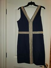 LILLY PULITZER Bentley Shift Dress 12 V Neck Navy Blue Gold Lace Detail NEW