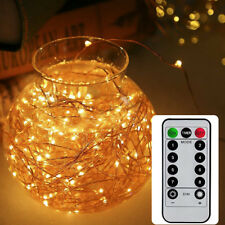 Battery Powered LED Copper Wire String Fairy Lights Xmas Party W/ Remote Control