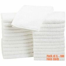 Pack of 5-100 Face Cloth Towels 500 GSM Wash Cloth Flannels 100% Egyptian Cotton