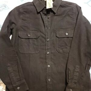 NWT WOOLRICH Long Sleeve BLACK Stretch Corduroy Button Up Shirt Jacket MSRP $69