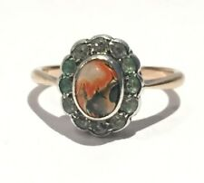 Vintage Rose Gold Silver Red and Black Agate Ring UK Size N