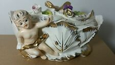 Collectaiable/Vintage Porcelain Royal Sealy Japan Covered Candy Dish With Cherub