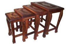 Mesitas auxiliares set 4 madera latón mesas talladas muebles decoración India