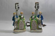 Vintage Victorian / Colonial Pair Table Lamps Porcelain Man Women Made In Japan