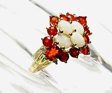 14K Yellow Gold Opal Oval, Orange Fire Opal & Diamond Ring, Size 6.5, 1.05(TCW)