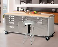 Work Bench Table Stainless Steel Garage Storage Cabinet Mobile Tool New