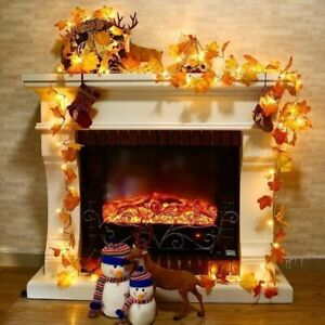 Halloween LED Autumn Maple Leaves Light Fall Garland Hanging Plant Home Decor