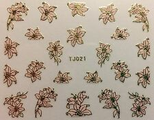 Nail Art 3D Decal Stickers Beautiful Metellic Flowers Gold & Pink TJ021