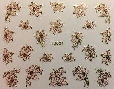 Nail Art 3D Decal Stickers Beautiful Metellic Flowers Gold & Pink Tj021
