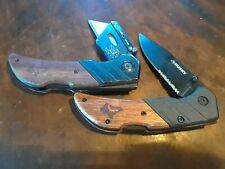 Husky Knife, Locking Utility Knife Combo, wood scales