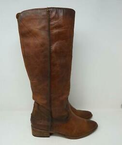 Frye Riding Boots Genuine Leather Knee High Western Brown Womens US 7