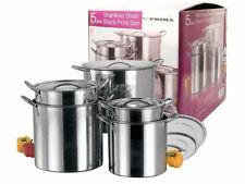 5 PC STAINLESS STEEL  COOKING 5PC CATERING STOCK POTS WITH HANDLES LIDS