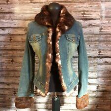 Sheri Bodell Acid Wash Cotton Rabbit Fur Collar Lined Denim Jacket Size M