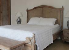 5' King Size Solid Teak & Rattan Limed Oak Finish Wooden Bed Bedroom Range