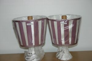 Pair of New Bedside Lamps. Striped Shade