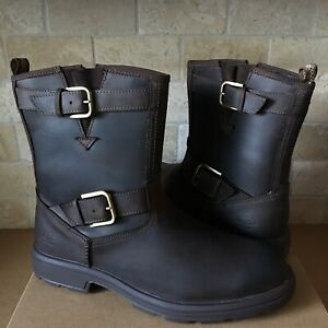 UGG BILTMORE STOUT BROWN WATERPROOF LEATHER BUCKLE MOTO BOOTS SHOE SIZE 11.5 MEN