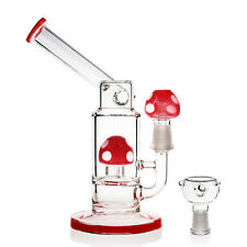 Red Mushroom Hookah Water Pipe Bong Glass Rig 7 Inch - Bowl Piece Included