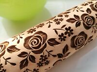 Mini Rolling Pin Engraved Rolling pin Embossed dough roller Roses pattern Cutter