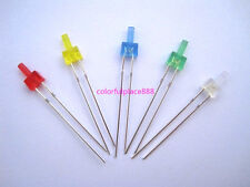 100pcs, 2mm Flat Top Diffused Red Yellow Blue Green White LED Diodes Leds Light