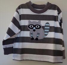 New Kelly's Kids Ryan Grey/White Stripe Raccoon Applique Shirt ~ Boy's Size 12M