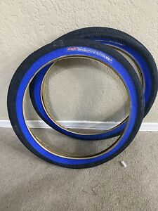 Nos 90's Old School GT Dirty X Street Freestyle Bmx Tires 20x2.0 Blue Flames