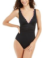 Kate Spade New York 75826 Womens Purple Scalloped V-Neck Swimsuit Size Large