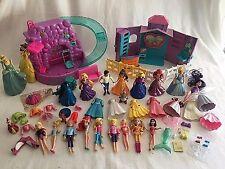 Disney Princess Polly Pocket Dolls Pool Fashions Prince Cinderella Belle 75+pcs