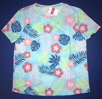 FRESH PRODUCE XL White Purple SKETCHED FLOWERS $49 Scoop Neck Tee Top NWT New XL