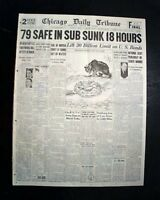 HMS THETIS Royal Navy T-Class Submarine SINKING Disaster 1939 Old Newspaper