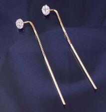 9ct Gold 5mm Cubic Zirconia Long Bar Pull Through Earrings.