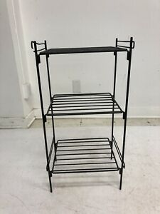 Vintage 3 TIERED STAND mid century modern wire plant shelf side table storage 50
