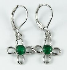 Women's 18 Carat White Gold Plated Green Crystal Drop Huggie Earring