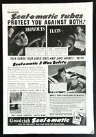 1939 Original Vintage Print Ad GOODRICH Seal-O-Matic Tires Blowouts Flats Safety