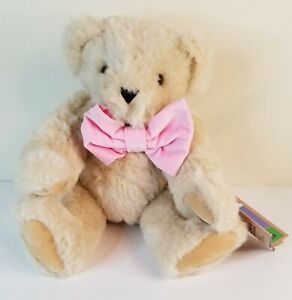 """Vermont Teddy Bear 15"""" jointed Beige bear with Pink Bow tie Preowned with tag"""