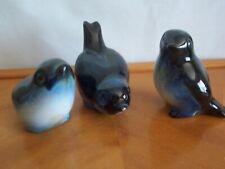 Vintage Howard Pierce Porcelain Beautiful Trio of Bluebirds - Wonderful Colors!